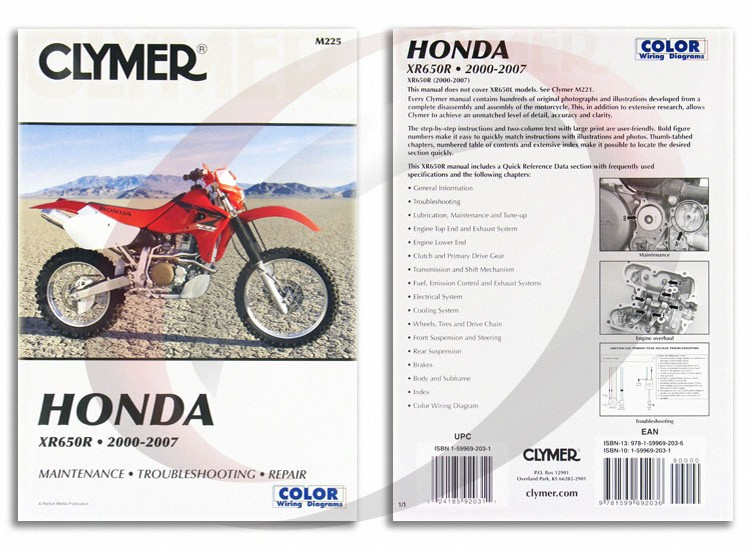 Clymer M225 Service Shop Repair Manual Honda XR650R 2000 ... on