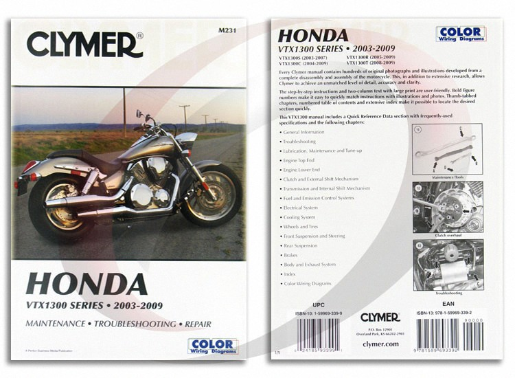 2003 2007 honda vtx1300s repair manual clymer m231 service. Black Bedroom Furniture Sets. Home Design Ideas