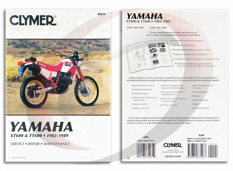 19831986 Yamaha Tt600 Repair Manual Clymer M416 Service Shop Garage: Yamaha Tt600 Wiring Diagram At Eklablog.co