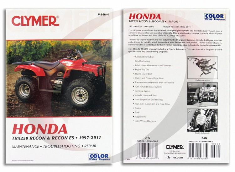 2002 2011 honda trx250 recon es repair manual clymer m446 4 service rh ebay com Honda Recon Parts Diagram 2004 honda recon 250 repair manual