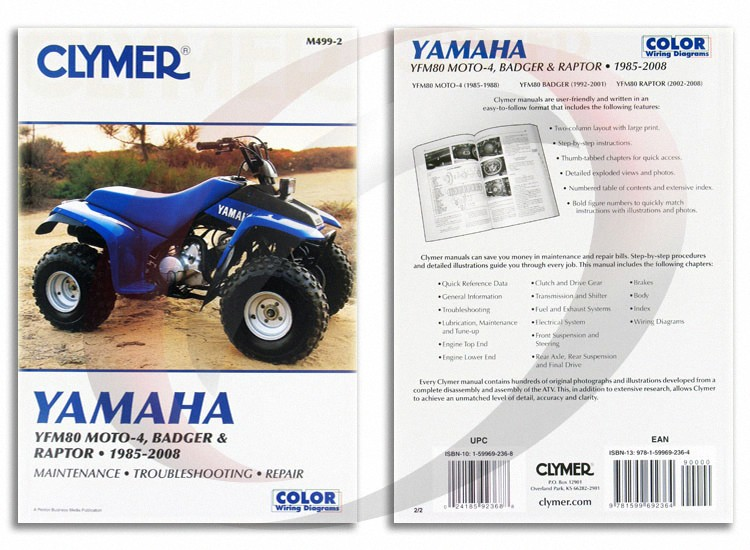 1985 1988 yamaha yfm80 moto 4 repair manual clymer m499 2 service shop  garage